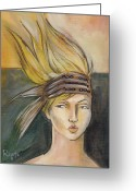 Headdress Greeting Cards - Tribal Greeting Card by Jacque Hudson-Roate