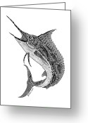 Creative Drawings Greeting Cards - Tribal Marlin Greeting Card by Carol Lynne