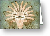 Arne J Hansen Greeting Cards - Tribal Mask III Greeting Card by Arne Hansen