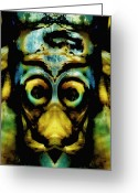 Philippines Art Greeting Cards - Tribal Mask Greeting Card by Skip Nall