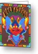 African Warrior Greeting Cards - Tribal Mask Greeting Card by Stephen Anderson
