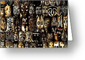 Masks Greeting Cards - Tribal Masks of Papua New Guinea Greeting Card by Per Lidvall