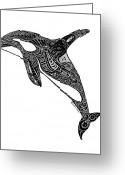 Whale Beach Greeting Cards - Tribal Orca Greeting Card by Carol Lynne