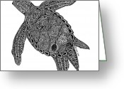 Beaches Drawings Greeting Cards - Tribal Turtle I Greeting Card by Carol Lynne