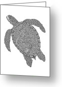 Beaches Drawings Greeting Cards - Tribal Turtle II Greeting Card by Carol Lynne