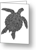 Creative Drawings Greeting Cards - Tribal Turtle III Greeting Card by Carol Lynne
