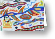 Stained Glass Glass Art Greeting Cards - Tribal Visions Greeting Card by Charles McDonell