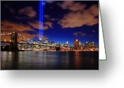 River. Clouds Greeting Cards - Tribute In Light Greeting Card by Rick Berk