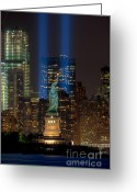 September 11 Greeting Cards - Tribute in Light XI Greeting Card by Clarence Holmes