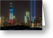 September 11 Greeting Cards - Tribute in Light XIII Greeting Card by Clarence Holmes