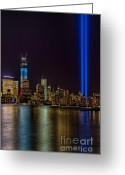 September 11 Greeting Cards - Tribute In Lights Memorial Greeting Card by Susan Candelario