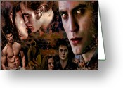 Vampire Painting Greeting Cards - Tribute to Eclipse Pattinson Stewart Lautner Greeting Card by Alex Martoni