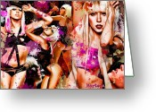 Urban Painting Greeting Cards - Tribute to Lady GaGa Greeting Card by Alex Martoni