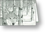 Wolves Drawings Greeting Cards - Tribute to the Wolf Greeting Card by Matthew Moore