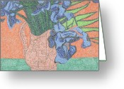 Lime Drawings Greeting Cards - Tribute to van Goghs Irises Greeting Card by William Burns