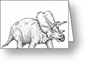 Addison Greeting Cards - Triceratops Greeting Card by Karl Addison