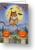 Full Moon Greeting Cards - Trick or Treat Street Greeting Card by Richard De Wolfe