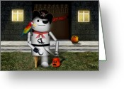 Trick Or Treat Greeting Cards - Trick or Treat Time for Robo-x9 Greeting Card by Gravityx Designs