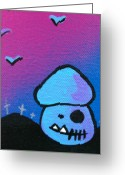Deathly Greeting Cards - Tricky Zombie Mushroom Greeting Card by Jera Sky