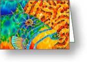 Caribbean Sea Tapestries - Textiles Greeting Cards - Trigger and Brain Coral Greeting Card by Daniel Jean-Baptiste