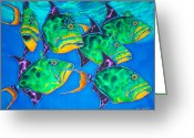 Caribbean Sea Tapestries - Textiles Greeting Cards - Triggers Greeting Card by Daniel Jean-Baptiste