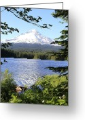 Trillium Lake Greeting Cards - Trillium Lake at Mt. Hood Greeting Card by Athena Mckinzie