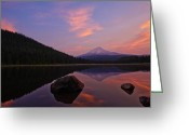 Trillium Lake Greeting Cards - Trillium Lake Sunrise Greeting Card by Dan Mihai