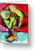 Struggles Painting Greeting Cards - Trilogy - N My Soul 2 Greeting Card by Charles M Williams