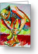 Struggles Painting Greeting Cards - Trilogy - N My Soul 3 Greeting Card by Charles M Williams