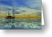 Sailboat Picture Greeting Cards - Trim of Gold Greeting Card by Corey Ford