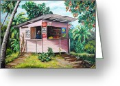 Mango Greeting Cards - Trini Roti Shop Greeting Card by Karin Best