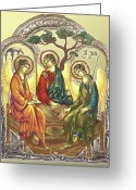 Byzantine Greeting Cards - TRINITY after Rubliov Greeting Card by Iosif Ioan Chezan