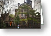 Occupy Photo Greeting Cards - Trinity Church Rear View Greeting Card by Teresa Mucha
