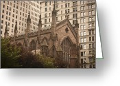 Occupy Photo Greeting Cards - Trinity Church Greeting Card by Teresa Mucha