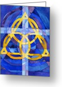 Jesus Painting Greeting Cards - Trinity Greeting Card by Mark Jennings