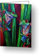 Amphibian Greeting Cards - Trinity of Tree Frogs Greeting Card by Patti Schermerhorn