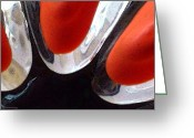 Black Print Greeting Cards - Trinity Red Black White Art Greeting Card by Sharon Cummings