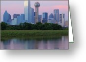Dusk Greeting Cards - Trinity River With Skyline, Dallas Greeting Card by Michael Fitzgerald Fine Art Photography of Texas