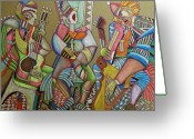 Protest Pastels Greeting Cards - Trio to the throne Greeting Card by Anatoliy Sivkov