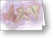 Whirls Greeting Cards - Triple Leaves Greeting Card by Anne-Elizabeth Whiteway