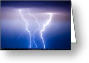 Rain Storms Greeting Cards - Triple Lightning Greeting Card by James Bo Insogna