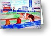 Shea Stadium Greeting Cards - Triple Play at Shea Greeting Card by Sandy Ryan