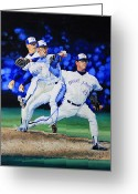 Baseball Poster Greeting Cards - Triple Play Greeting Card by Hanne Lore Koehler