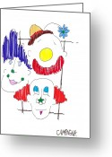 Marker Paper Drawings Greeting Cards - Triple Threat Greeting Card by Teddy Campagna