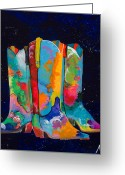 Cowboy Boots Greeting Cards - Triple Threat Greeting Card by Tracy Miller
