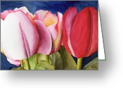 Ken Greeting Cards - Triple Tulips Greeting Card by Ken Powers