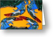 Blue Crab Greeting Cards - Triplets Greeting Card by JoAnn Wheeler