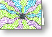 Lime Drawings Greeting Cards - Tripped Out Sun Greeting Card by Jera Sky