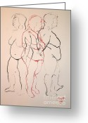 Nudes Drawings Greeting Cards - Tripple standing nude Greeting Card by Joanne Claxton