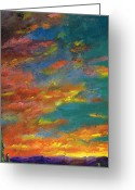 Desert Southwest Greeting Cards - Triptych 1 Desert Sunset Greeting Card by Frances Marino